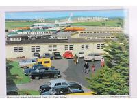 Framed Vintage John Hinde Postcard Shannon Airport, Ireland Aer Lingus Plane Transport History