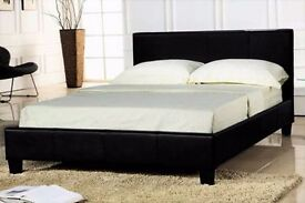 Faux Leather Slatted Base Bed frame & Sprung Mattress (Colour Options Available)