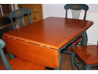 SOLID TEAK WOOD DROP LEAF DINING TABLE AND CHAIRS - PERFECT FOR CHRISTMAS DINNER - BARGAIN