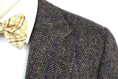 HARRIS TWEED Men's 40R Brown Herringbone Wool Tweed Sport Coat Jacket