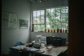 Bespoke work spaces, shared space, private studios, hot desks, high ceilings, lots of light