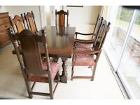 Oak Dining Room Table + 6 matching oak Stuart style chairs.