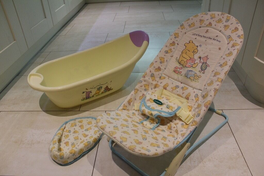 Mothercare Winnie The Pooh baby bath and bouncing chair. | in ...
