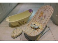 Mothercare Winnie The Pooh baby bath and bouncing chair.