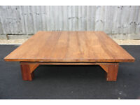 Extra large chunky solid wood rustic coffee table, 120 X 120cm
