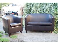 2 SEATER AND 1 SEATER TUB CHAIR - Dark brown faux leather. Ideal form home , office , reception