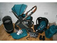 Babystyle Oyster 2 Pram pushchair and car seat 3 in 1 - Deep Topaz / tan leather CAN POST