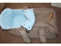 Beige and Turquoise Baby Carry Cot