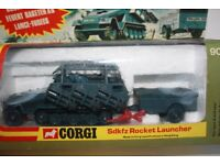 MINT CONDITION, COMPLETE Boxed 1970s CORGI 907 GERMAN SEMI-TRACK HANOMAG Sdkfz 251/1 ROCKET LAUNCHER