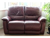 2 SEATER MANUAL DOUBLE RECLINER OX BLOOD LEATHER SOFA IN EXCELLENT CONDITION