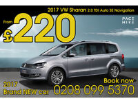 VW Sharan - 7 seater BRAND NEW car PCO hire / rent - UBER Hire ready - Better than Ford Galaxy DSG