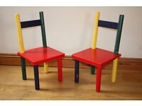 2 Colourful Kids Wooden Chairs