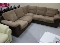 CORNER SOFA, SETTEE, FAUX-LEATHER &FABRIC, MINT CONDITION **DELIVERY AVAILABLE**