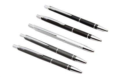 Lot Of 5 - Hauser Celebrity Ballpoint Pen Retractable Button Sleek Metal Body