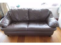 Settee brown leather 3 seater and two seater in decent condtion.