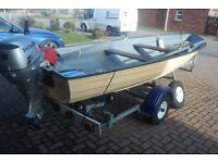 Fulmar Lake or sea boat 8hp Honda engine and nearly new trailer - BARGAIN BUY