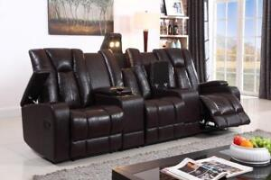 Recliner Sofa with Cup Holders, Storage Compartments and LED Lighting IF-9080 (BD-1358)