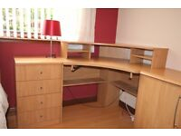Beech effect furniture for a study/bedroom. 4 drawer unit, two door cupboard and study desk. Excon