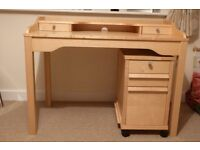 IKEA DESK AND FILING CABINET IN MAPLE AS NEW