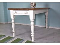 DELIVERY OPTIONS - SOLID PINE SHABBY CHIC PAINTED FARMHOUSE PINE TABLE WITH DRAWER