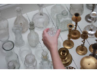 51 assorted candle holders, vases and decanters used at wedding for sale.