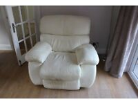 Pair of cream leather reclining chairs