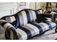 Black and cream striped sofa - Quick Sale
