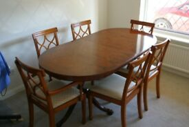 Yew Dining Table and Six Chairs