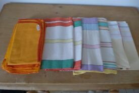 6 Old-Fashioned Pure-Cotton Vintage Tea Towels. NEW. PLUS 4 Cotton Vintage Yellow Dusters. Also NEW.