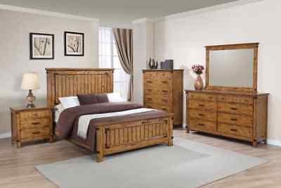 Coaster Fine Furniture Brenner Queen 6 Piece Bedroom Set in Rustic Honey  Coaster Bedroom Furniture