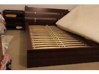 Ikea Hopen King Size Bed Frame/Integrated Headboard/2X Pullout Bedside Cabinet/Mattress