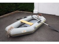 Avon 8 inflatable dinghy, with oars, pump and puncture repair kit.