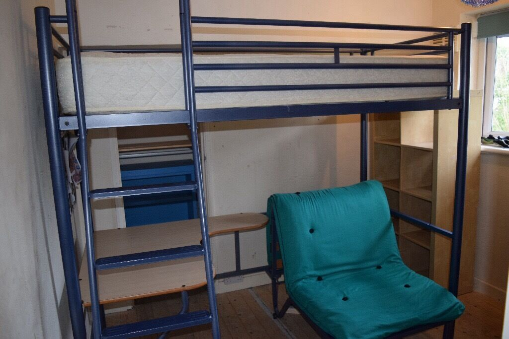 Jay Be Blue Metal Cabin Bed With Desk And Futon Chair