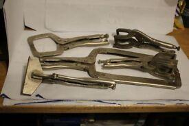 Five Assorted Welding Clamps