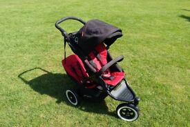 Phil and Ted Dot double pushchair with car seat brackets - Red and Black.