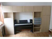 mixture of Ikea wall & floor BESTA cabinets with doors, ash finish, living room