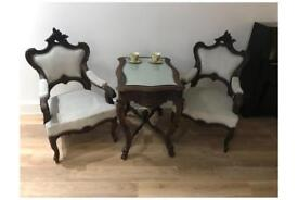 French Rococo Style table and armchairs