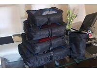 X500 Travel Cubes System: 4 Set Packing Cubes - Travel Organisers with Laundry Bag (Black/Blue)