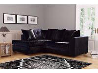 STYLISH DESIGN BRAND NEW BLACK & SILVER CRUSH VELVET SOFA SUITE
