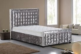 Superior Quality Crushed Velvet Bed Frame Extra High Button Detailed Headboard & FootBoard