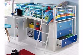 BRAND NEW Children's Kid's High sleeper single bed Storage With Drawer / Desk White/Blue