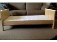Sturdy toddler bed for sale including mattress, good condition.