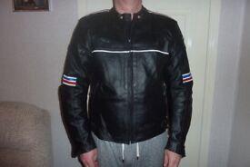 Men's Ridex leather armoured motorcycle jacket size large