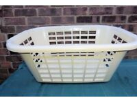 Cream Coloured Plastic Laundry Basket, Good Condition, Histon