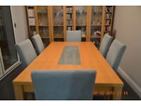 table and 6 dining chairs 160cm x 85 cm
