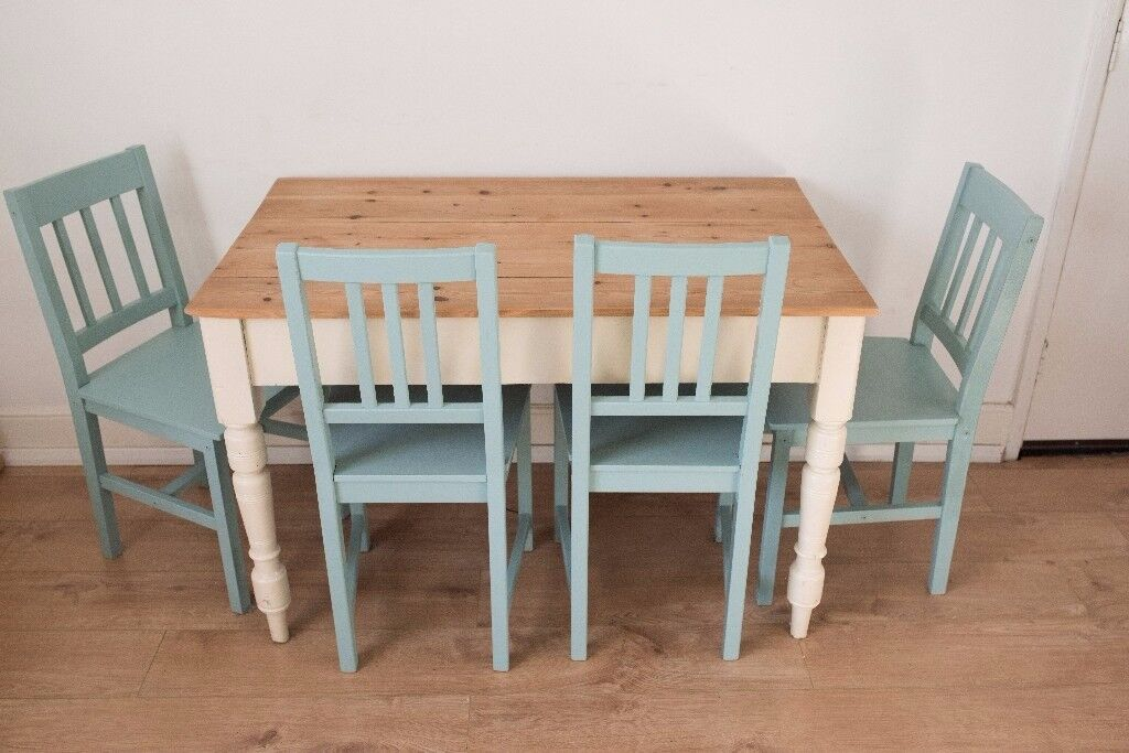 4 Duck Egg Blue Ikea Shabby Chic Wooden Dining Chairs