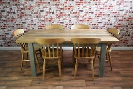 Solid Hardwood Chunky Slab Rustic Dining Table Set - 6 Seater