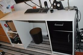 White and black office desk