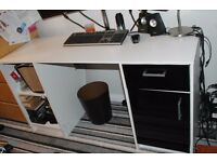 White and black office desk