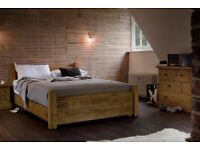 """Bespoke Double """"Crofters Plank"""" Bed with a Double Mattress."""